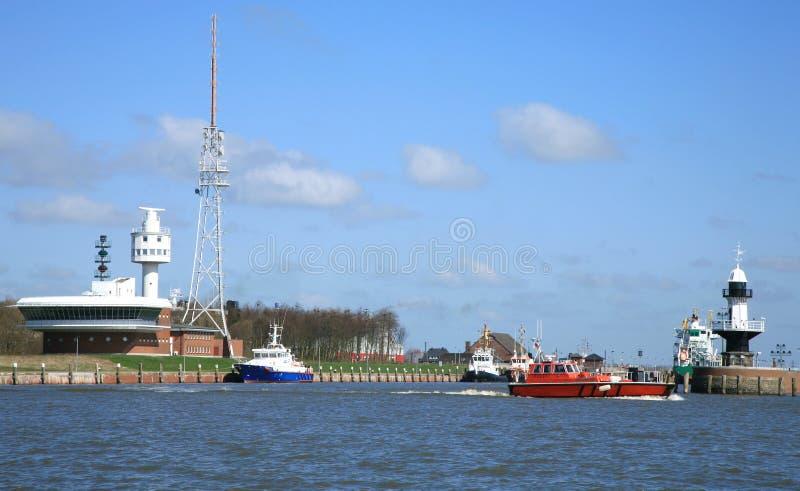 Infra-estrutura da entrada ao canal de Kiel imagem de stock