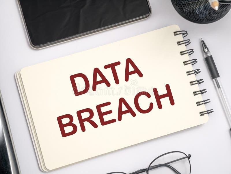 Infraction de données, concept de mots de crime d'Internet images libres de droits