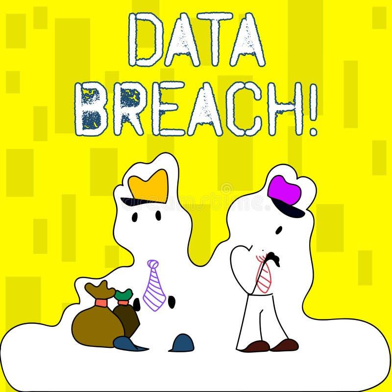 Infraction de données d'écriture des textes d'écriture Concept signifiant l'incident de sécurité dans lequel des données confiden illustration stock