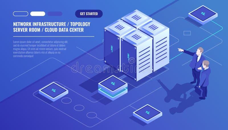 Infraestructura en red, topología del sitio del servidor, centro de datos de la nube, hombre de negocios dos, análisis de datos y ilustración del vector