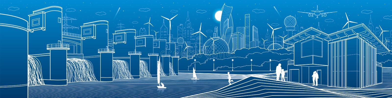 Infraestructura futurista de la vida de ciudad Panorama industrial del ejemplo de la energía Central hidroeléctrica  Presa del rí libre illustration