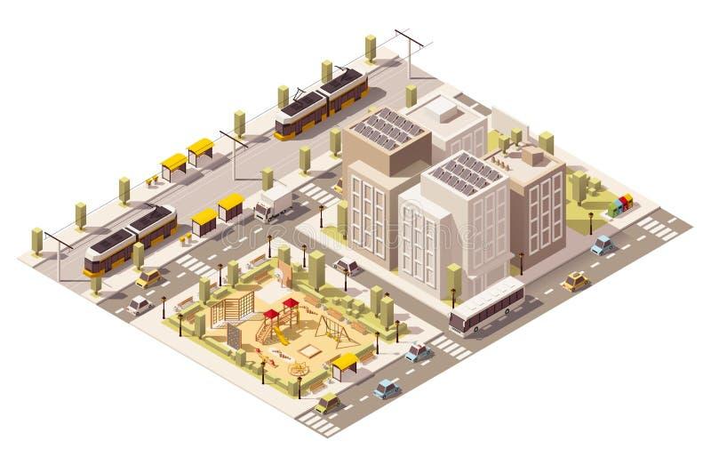Infraestructura polivinílica baja isométrica de la ciudad del viajero del vector stock de ilustración