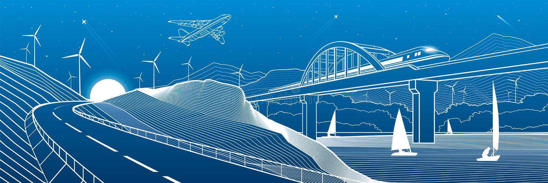 Infraestrutura da cidade industrial e panorama da ilustra??o do transporte O trem viaja ao longo da ponte railway sobre o rio Aut ilustração royalty free