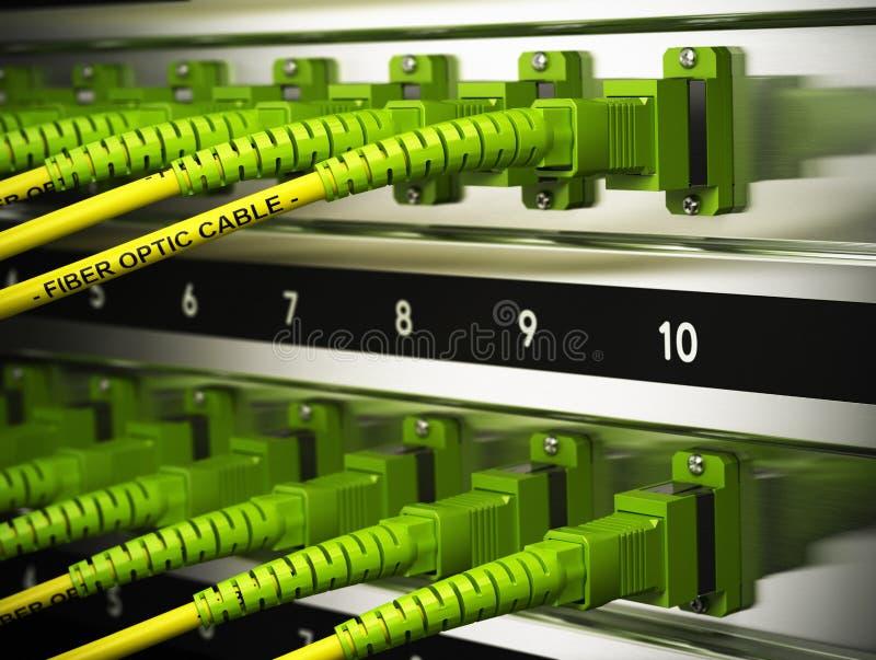 Infraestrutura de rede, conexões das fibras óticas ilustração royalty free