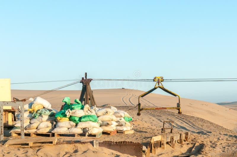 Infraestrutura do cabo aéreo na ilha do guano perto de Long Beach em Namib imagem de stock royalty free