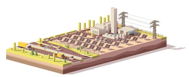 Infraestrutura poli da planta de energias solares do vetor baixa ilustração do vetor