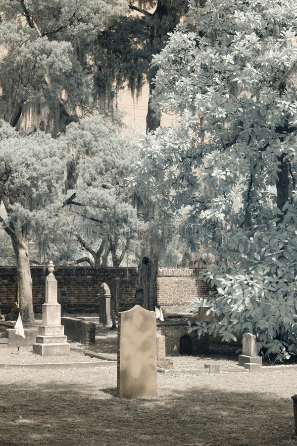 Infrared cemetery with blank tombstone royalty free stock photos
