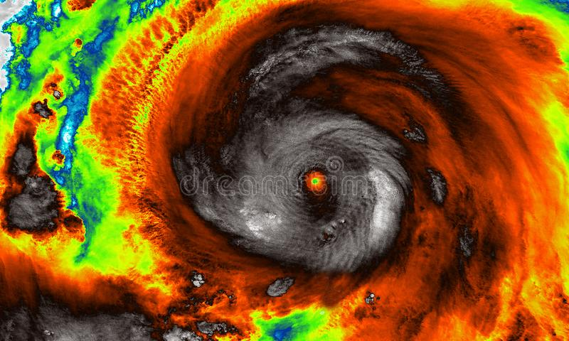 Infrared imaging map of super typhoon. The eye of the hurricane. Satellite view stock photo