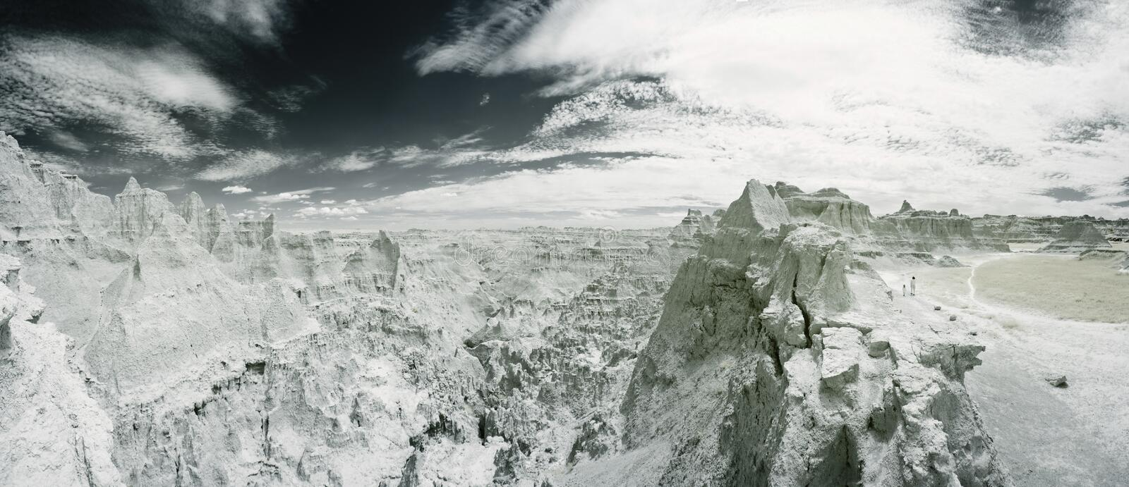 Infrared landscape of badlands royalty free stock photography