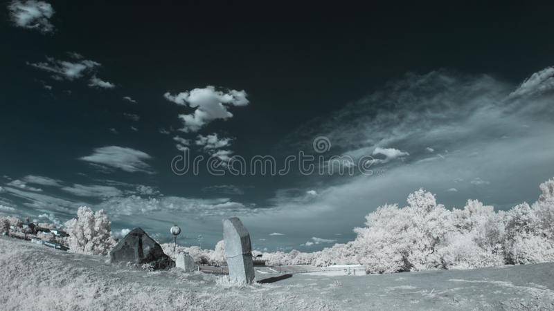 Infrared landscape with shadows. And details stock photo