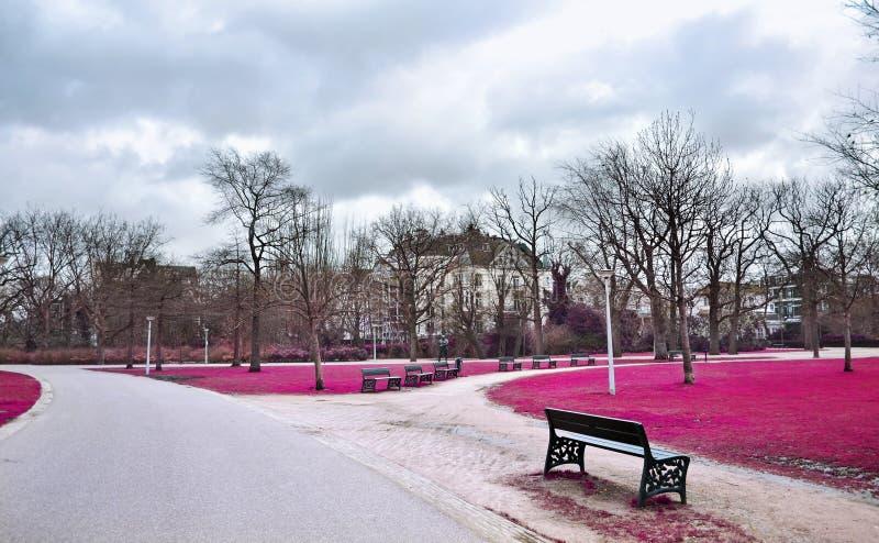 Infrared landscape of Vondelpark Amsterdam Holland royalty free stock photo