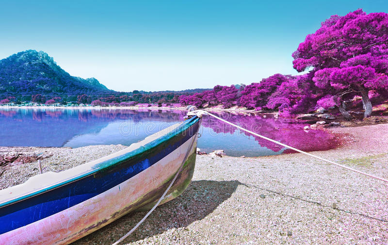 Infrared photography of Heraion lake Loutraki Greece stock images