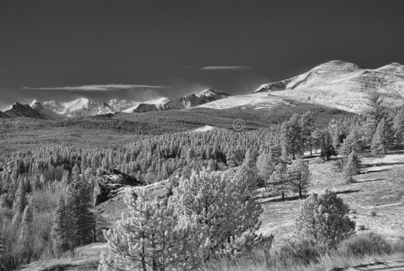 Infrared picture of the Rocky Mountains outside of Boulder, Colorado stock images