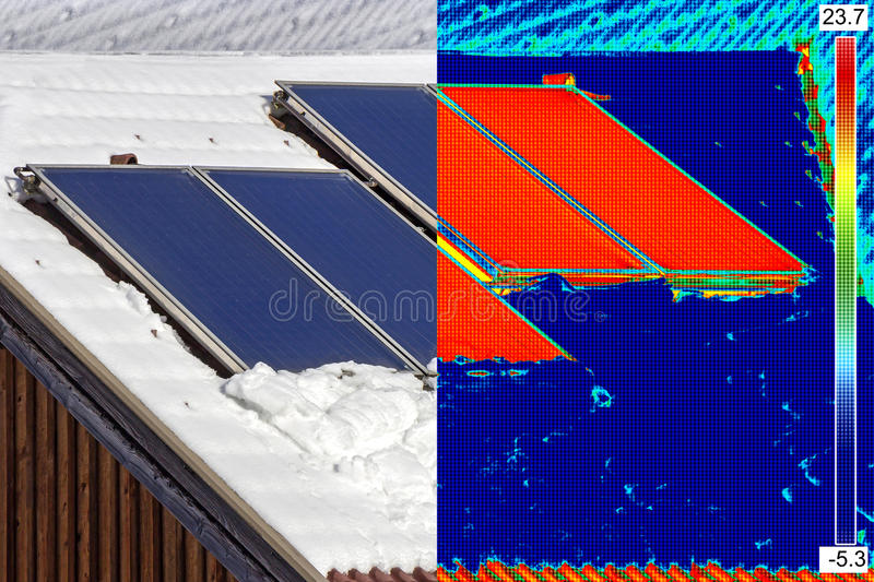 Infrared and real image of Solar Panels. Infrared and real image of Photovoltaic Solar Panels on the roof House royalty free stock photography