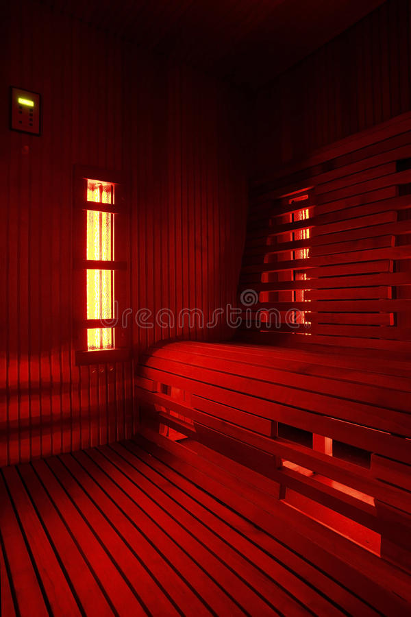 Infrared sauna cabin. Domestic luxury Infrared sauna cabin royalty free stock images