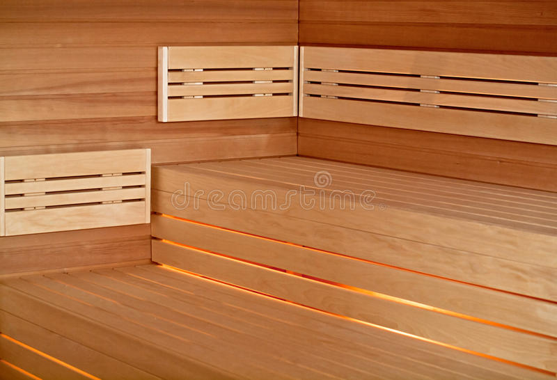 Infrared sauna cabin. Wood interior royalty free stock image