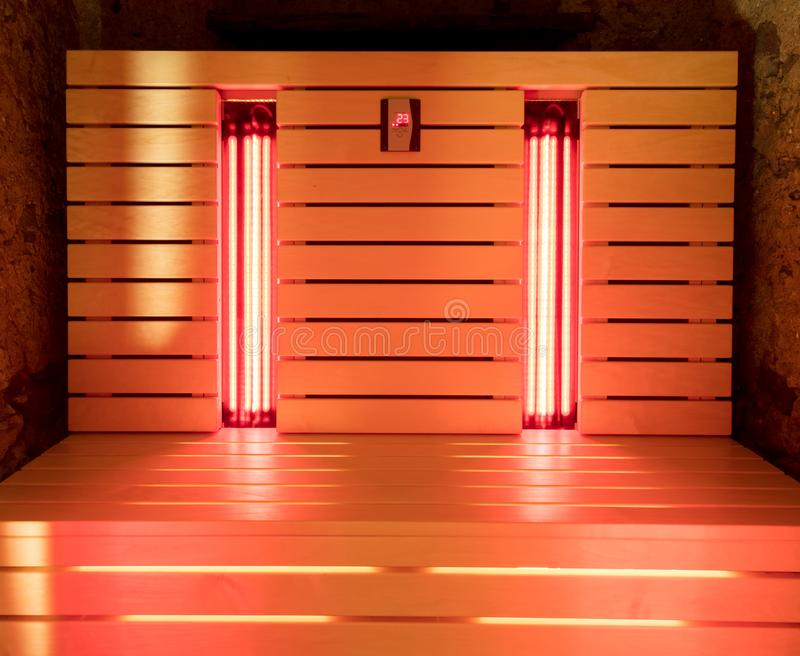 The infrared sauna. To improve the health and beauty royalty free stock photo