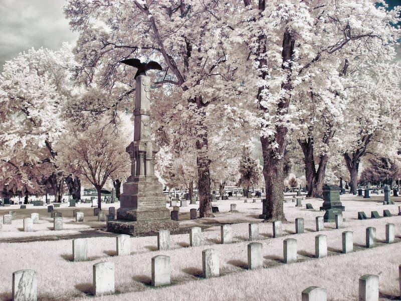 Infrarood beeld van een begraafplaats stock afbeelding