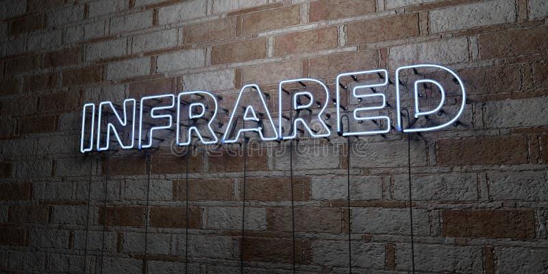 INFRAROOD - Gloeiend Neonteken op metselwerkmuur - 3D teruggegeven royalty vrije voorraadillustratie stock illustratie