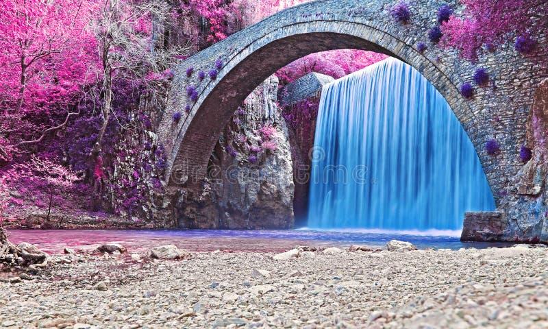 Infrarood landschap van de waterval in Trikala Thessalië (Griekenland) stock fotografie