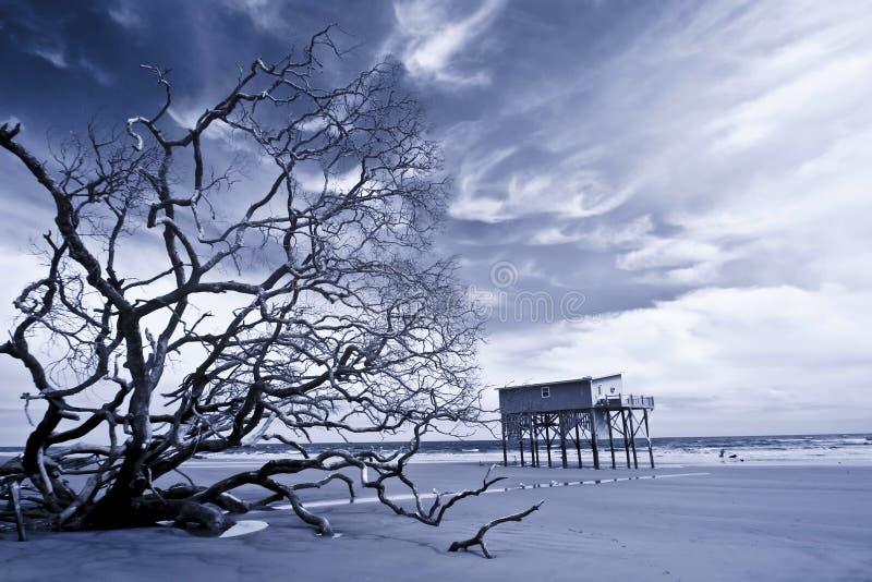 Infrared die van huis zich alleen op strand bevinden stock fotografie