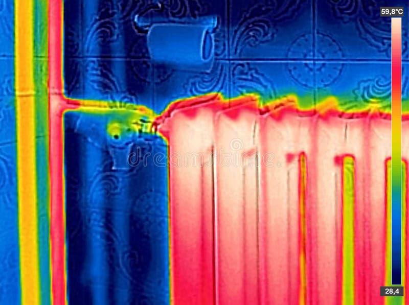 Infrarood Thermisch Beeld van Radiatorverwarmer royalty-vrije stock foto