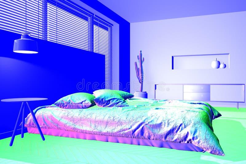Infrarood thermovisionbeeld die thermische isolatie op slaapkamer tonen stock illustratie