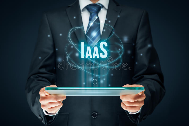 Infrastructure as a Service IaaS. Concept. Modern information technology business model where hardware is provided by an external provider stock image