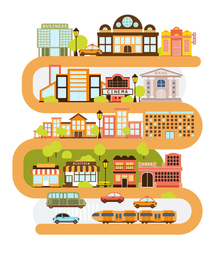 Infrastructure de ville et tous les urbains alignement avec la ligne orange incurvée dans l'illustration graphique de vecteur illustration stock