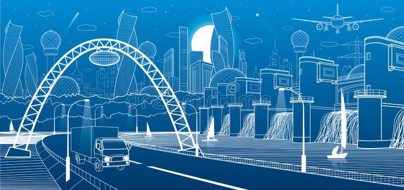 Infrastructure de ville industrielle et illustration d'énergie Centrale hydraulique Barrage de rivière Route d'automobile Mouveme illustration libre de droits