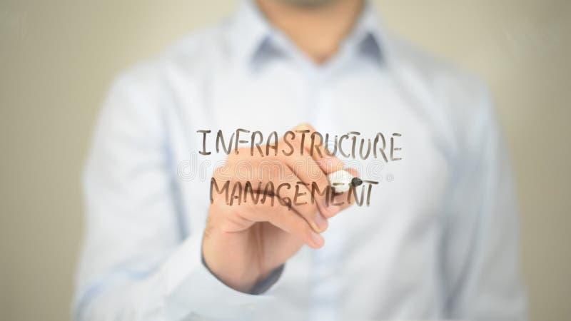 Infrastructure Management , Man writing on transparent screen stock photos
