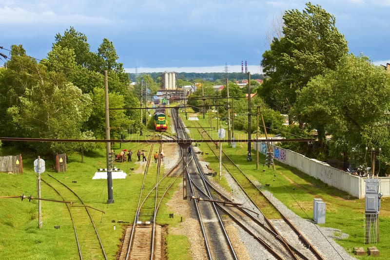 Infrastructure on railroad branching royalty free stock photography