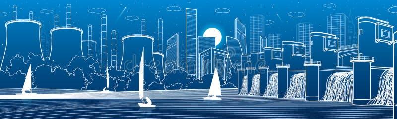Infrastructure urbaine de ville panoramique Centrale hydroélectrique à la rivière Ville moderne Centrale thermique d'usine Yachts illustration libre de droits