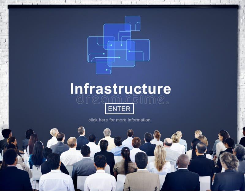 Infrastruktur-Bau Chip Link Concept stockfoto