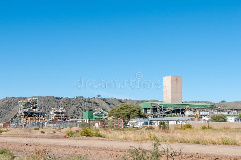 Infrastruktur eines Diamantbergwerkes stockfoto