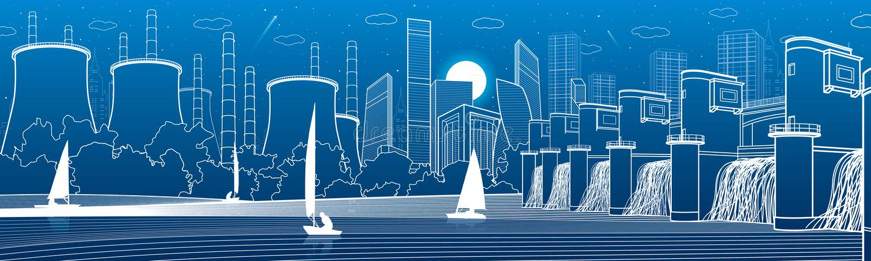 Infrastruttura urbana della città panoramica Centrale idroelettrica al fiume Città moderna Centrale elettrica del termale della f royalty illustrazione gratis