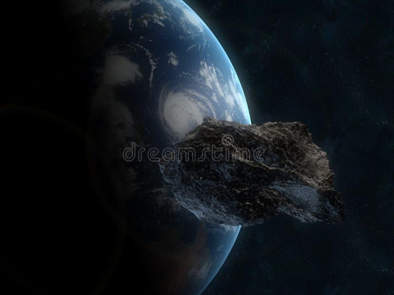 Infront asteróide da terra ilustração do vetor