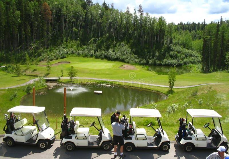 Download Infront De Quatre Chariots De Golf De Fontaine Photo stock - Image du arbre, banlieues: 172036