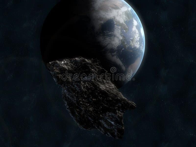 Asteroide davanti a terra immagine stock