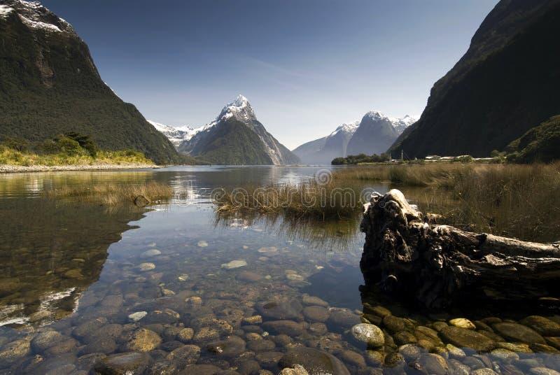 Infuła szczyt, Milford dźwięk, Fiordland park narodowy, Południowa wyspa, Nowa Zelandia zdjęcie stock