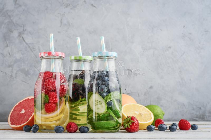 Infused water with fresh fruits royalty free stock photos