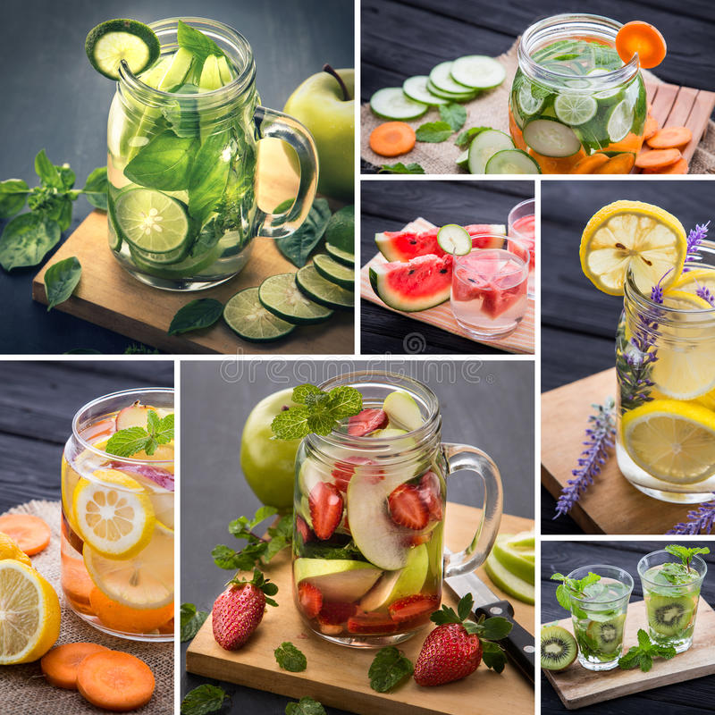 Infused waters from various tropical fruit stock photo