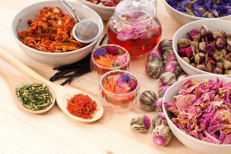 Infusion florale normale de fines herbes de thé photo stock