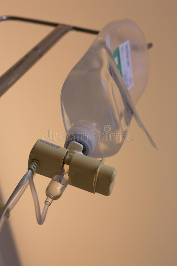 Infusion IV drip saline solution bottle stock photos