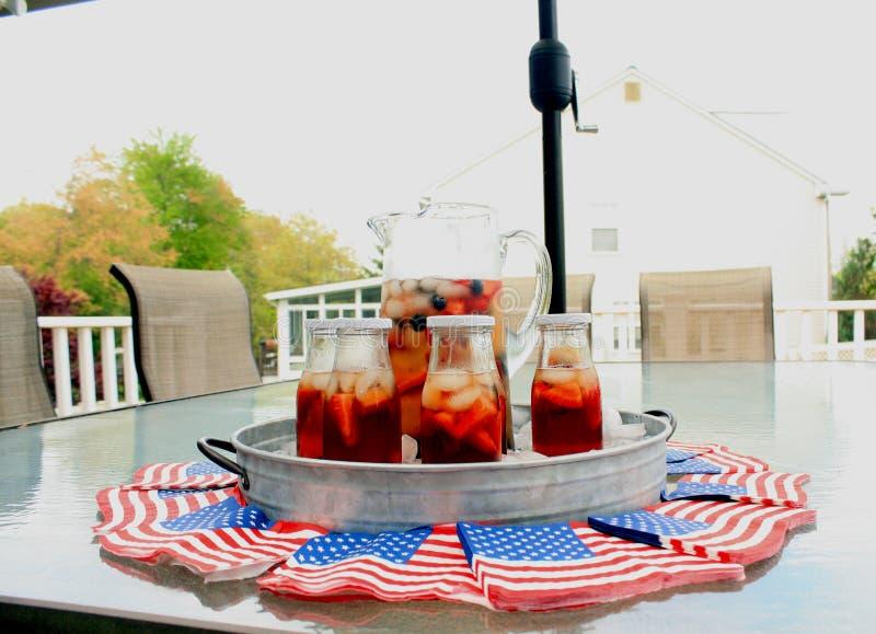 Infustion americano della frutta e del tè del bbq del partito di estate di festa con le bacche immagine stock libera da diritti