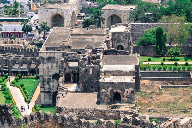 Ingång av det Golconda fortet i Hyderabad Indien fotografering för bildbyråer