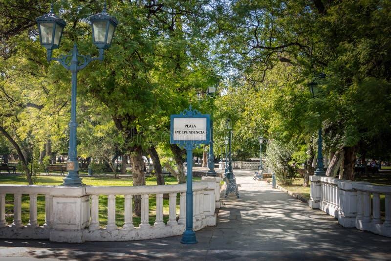 Ingång för fyrkant för PlazaIndependencia självständighet - Mendoza, Argentina arkivbilder
