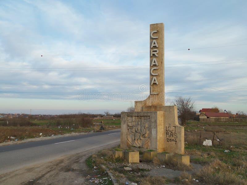 Ingång i Caracal - stad i sydliga Rumänien arkivbilder