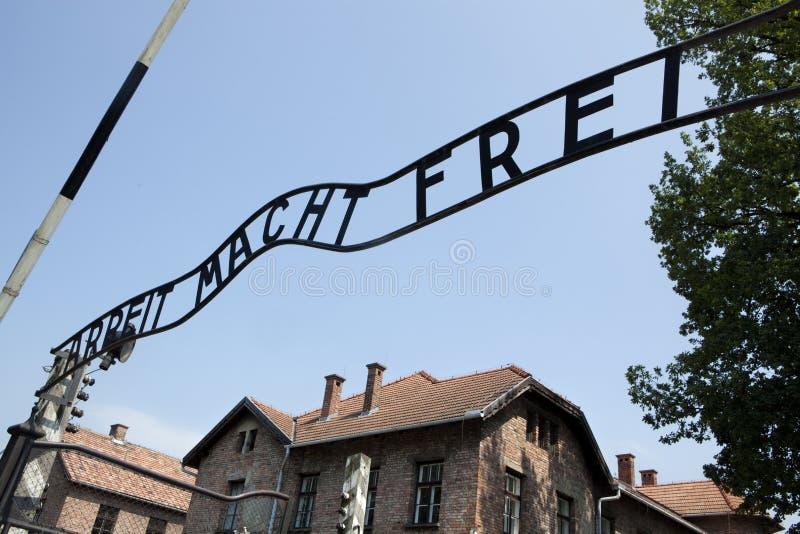 Ingång till den Auschwitz koncentrationslägret. Polen royaltyfria foton
