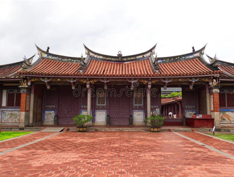 Ingång till den Konfucius templet, arkitektur för traditionell kines royaltyfri fotografi